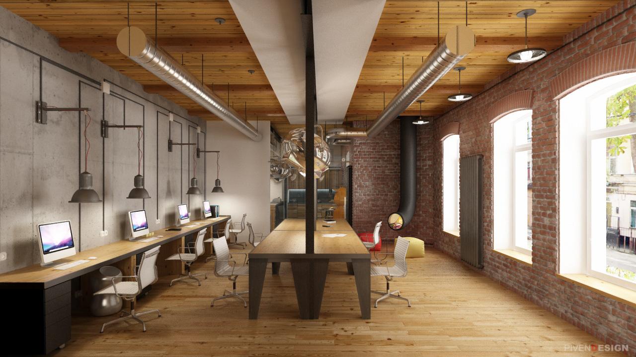 Интерьер офиса лофт фото