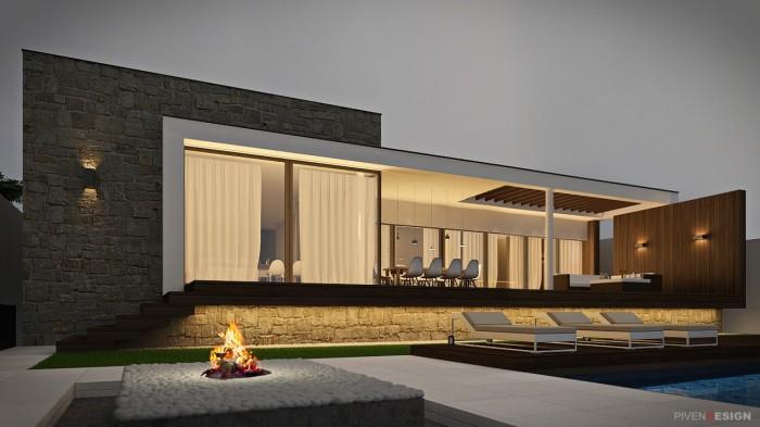 Проект одноэтажного дома на склоне с видом на море.