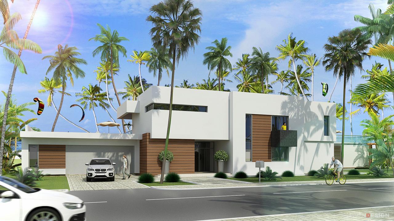 Проект двухэтажного дома в современном стиле, с гаражом и бассейном