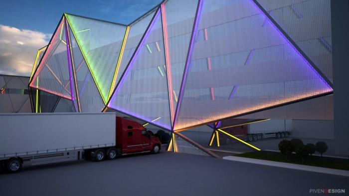 Концепция фасада фабрики LED ламп