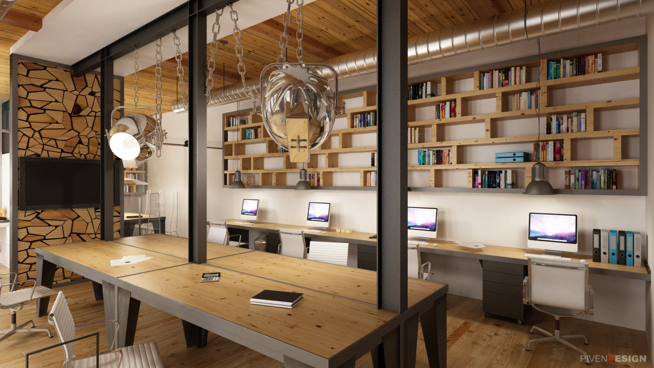 Проект интерьера офиса в Лофте